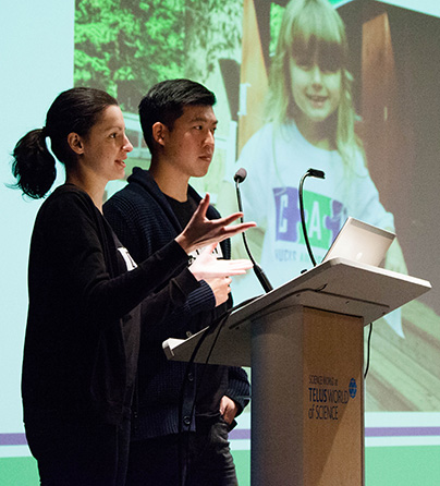 Canucks Autism Network staff members Darcie Domes and Ryan Yao provide an autism awareness presentation to Telus World of Science staff.